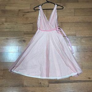 Light Pink mid-length V-Neck flowy dress